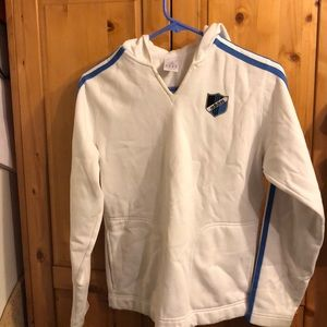 Adidas white blue stripes hoodie size s